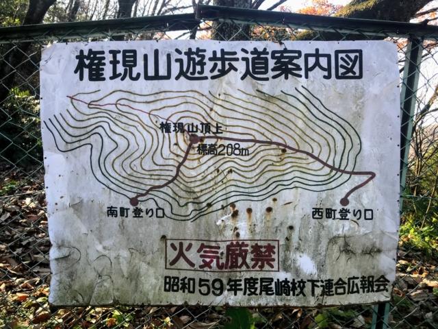 尾崎権現山 尾崎南運動公園 権現山遊歩道案内図