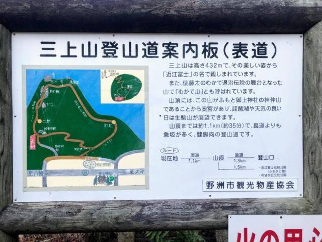 三上山 登山道案内板(表道)