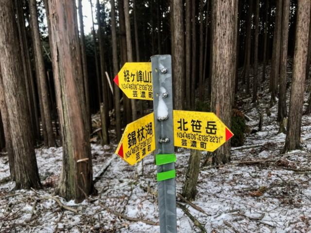 経ヶ峰 笹子谷ルート 経ヶ峰・北笹岳分岐