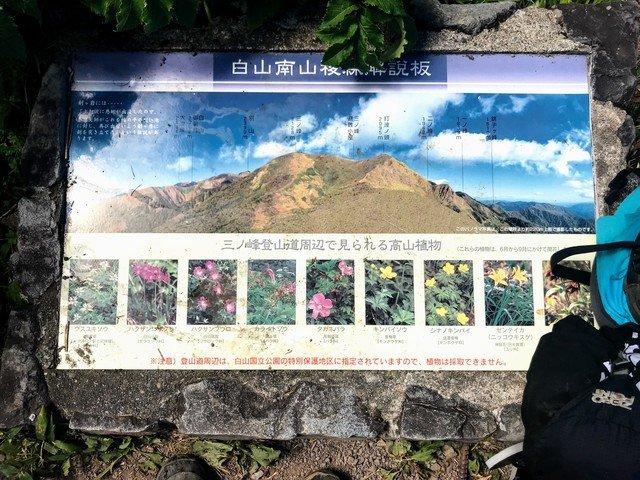 三ノ峰~別山 上小池ルート 白山南山稜線解説板
