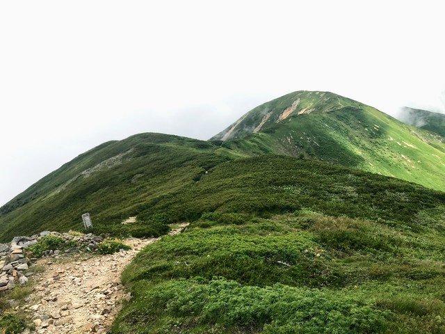 別山 山頂から南竜山荘方面